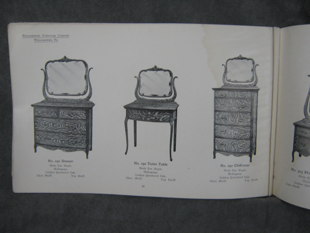 Catalogue 1907 of the williamsport furniture company for American furniture manufacturing companies