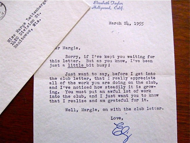 Signed Letter On Elizabeth Taylor's Personal Stationary Dated March 24, 1955