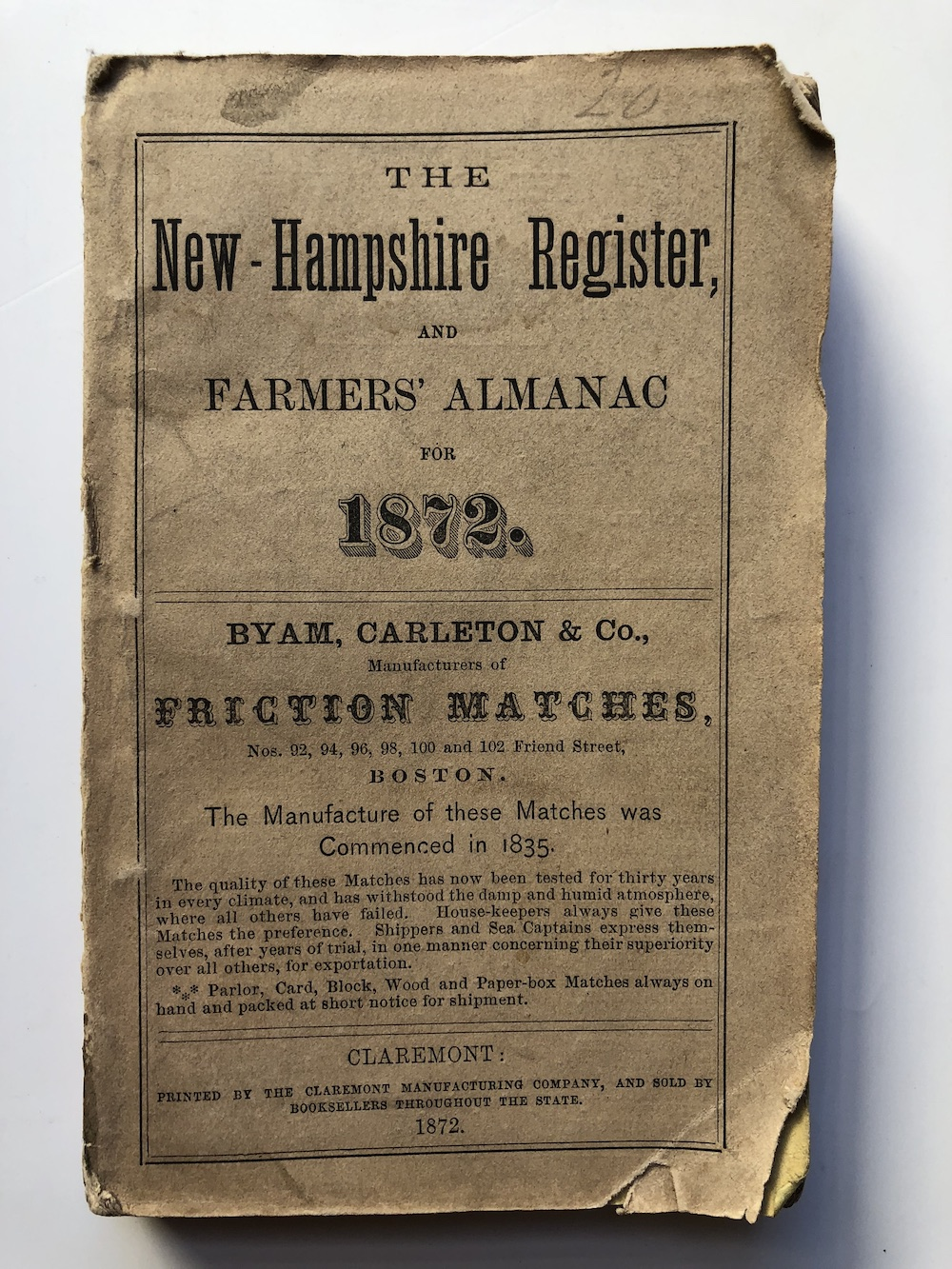 Details about New Hampshire Register Farmers' Almanac and Business  Directory for 1872 / 1871