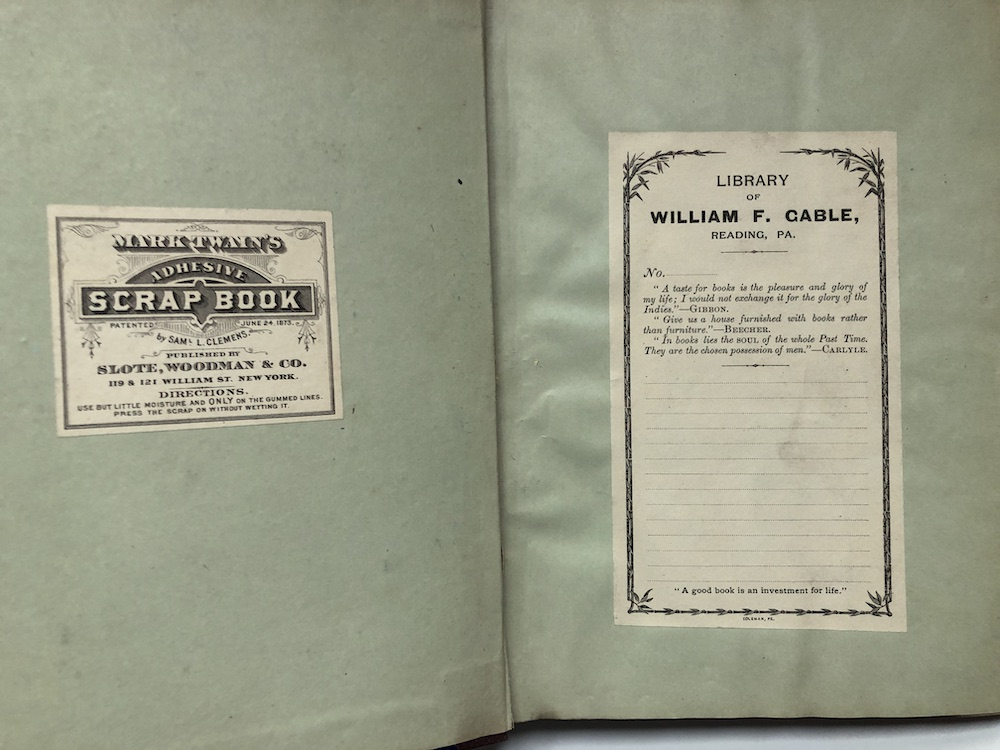 Scrapbook kept by great Altoona book collector William F  Gable, clippings  charting Bayard Taylor's 1878 doings as Minister to Germany by William F