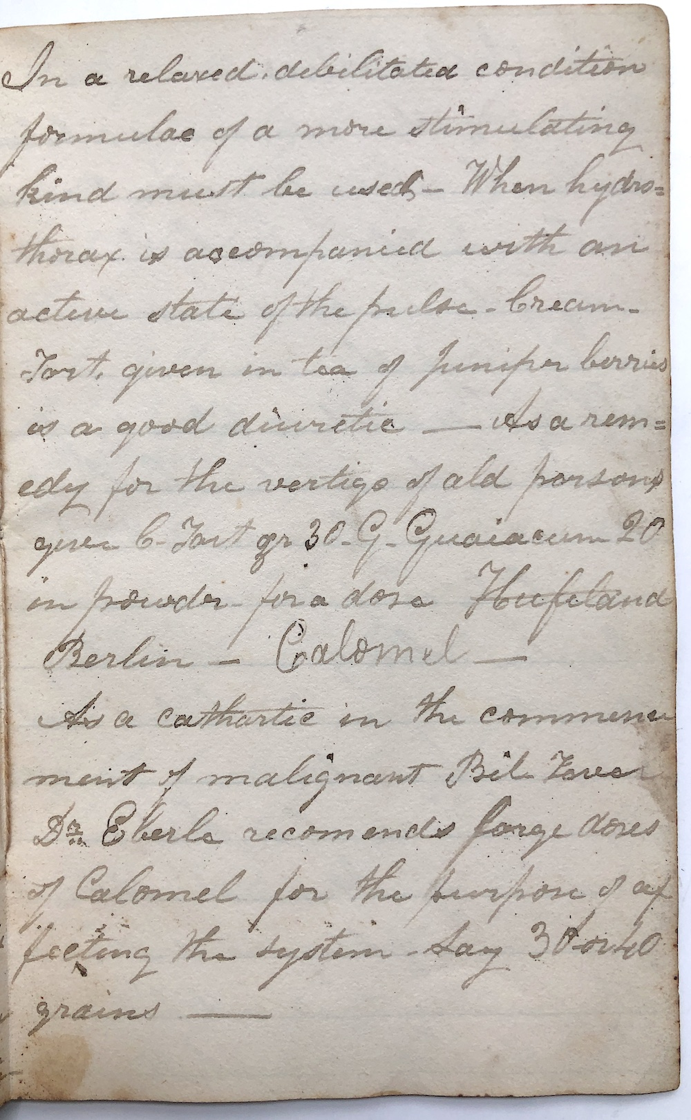 Handwritten Materia Medica Ca  1830-1840s, notes either for domestic use or  part of a medical school itinerary: Anti-emetics, Tincture of Lobelia,
