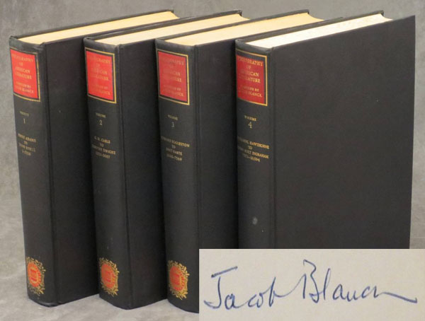 Bibliography of American Literature, Volumes 1-4 (one through four), covering Henry Adams to Joseph Holt Ingraham, the fourth volume inscribed by Jacob Blanck to one of the contributors of the BAL, Matthew J. Bruccoli. Jacob Blanck, Matthew J. Bruccoli.