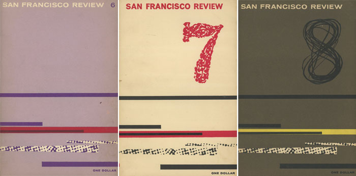 3 issues of The San Francisco Review -- 6, 7, 8. R. H. Miller, Federico Garcia Lorca, William Stafford Diane Wakoski, Cesar Vallejo, Charles Bukowski, George Trakl, Cid Corman, William Saroyan, Pablo Neruda, Bertrand Russell, Rilke.