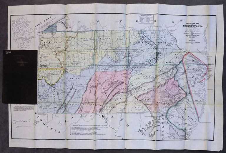 Historical Map of Pennsylvania, showing the Indian Names of Streams and Villages and Paths of Travel; The Sites of Old Forts and Battle-Fields; The Successive Purchases from the Indians and the Names and Dates of Counties and County Towns. P. W. Sheafer.