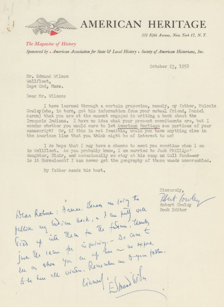ANS from Edmund Wilson to Robert Cowley at American Heritage magazine, 1958. Edmund Wilson, Robert Cowley, American Heritage.