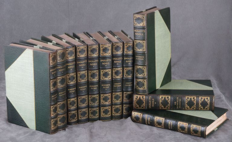 The Novels of Tobias Smollett, Large Paper Edition, complete in 11 volumes -- number 108 of 500 copies (Roderick Random, Peregrine Pickle, Count Fathom, Sir Launcelot Greaves, Humphry Clinker). Tobias Smollett, George Cruikshank.