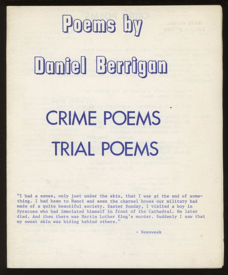 Crime Poems, Trial Poems (Poems by Daniel Berrigan, from 'The...