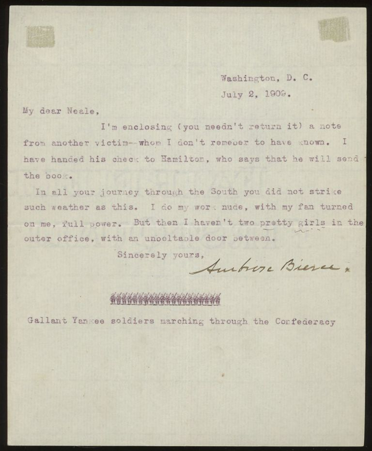 Typed Letter Signed, from Ambrose Bierce to his publisher, Walter...