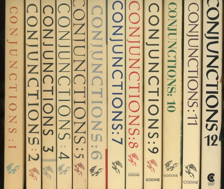 Conjunctions, the first 12 issues, including issue 1 inscribed by Bradford Morrow, James Laughlin, Richard Howard and J. M. Edelstein. Bradford Morrow, James Laughlin William Targ, Richard Howard, Harry Mathews, William T. Vollmann, William S. Burroughs, John Hawkes, Michael McClure, Edmond Jabes, Joseph McElroy, John Ashbery Paul Bowles, Ron Silliman, Aime Cesaire, Anne Waldman, Don Van Vliet, Jackson Mac Low, Guy Davenport, Walter Abish, Kay Boyle, James Purdy, Ted Enslin, Carl Rakosi, William Gass, Czeslaw Milosz, Cid Corman, Jerome Rothenberg, Lawrence Ferlinghetti, Gary Snyder, Robert Creeley, David Foster Wallace, Kenneth Rexroth, J. M. Edelstein.
