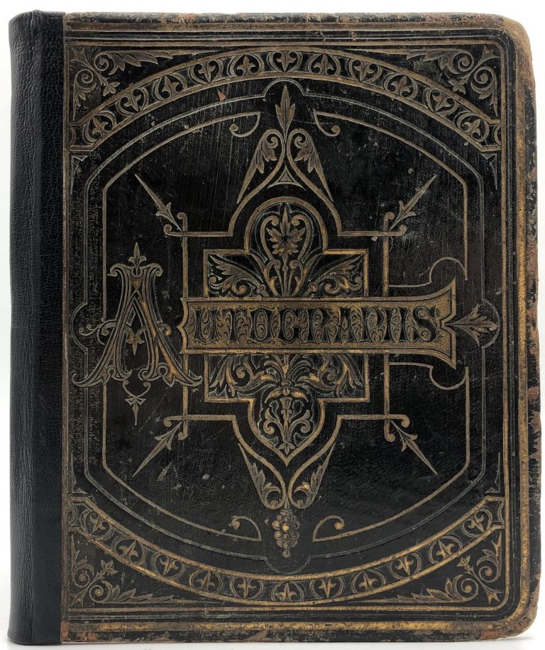 1879 Autograph Album compiled by Lizzie Burnett, with signatures of President Rutherford B. Hayes, all 7 members of his Cabinet, 8 Supreme Court justices, 70 senators, including Ambrose Burnside, and 112 members of the house, including President James A. Garfield, who served in the 46th US Congress. Lizzie Burnett, Ambrose Burnside Rutherford B. Hayes, 46th US Congress, M. R. Waite.