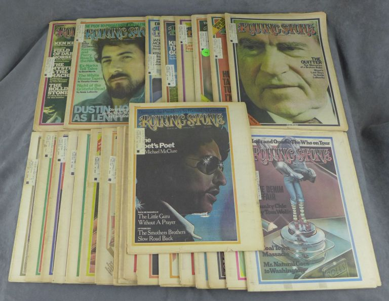"""Complete run of Rolling Stone magazine from 1974--26 issues total (nos. 151-176). Jann Wenner, Ralph Gleason, Paul McCartney """"Funky Chic"""" by Tom Wolfe, """"Fear, Bob Dylan, Marvin Gaye Loathing at the Super Bowl"""" by Hunter S. Thompson, William S. Burroughs Interviews David Bowie, George Harrison, Ken Kesey, """"The Scum Also Rises"""" by Hunter S. Thompson, Tanya Tucker, """"Nixon's Last Days"""" by Annie Leibovitz, Mama Cass RIP, The USA vs. John Lennon, Roman Polanski, Eric Clapton, """"The Boys in the Bag"""" by Hunter S. Thompson, The Carpenters, James Dean, Jackson Browne."""