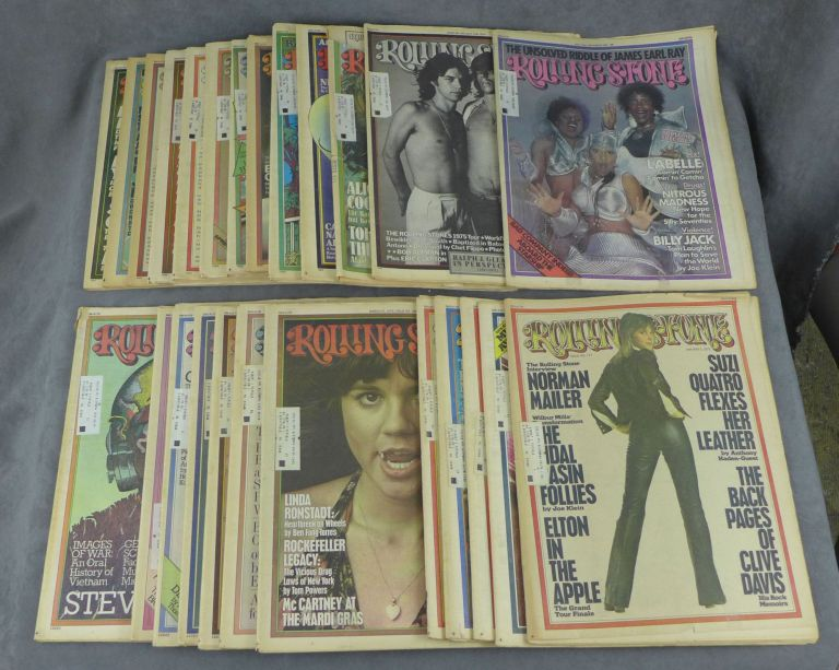 Near complete run of Rolling Stone magazine from 1975--25 issues total (missing no. 182). Jann Wenner, Norman Mailer Ralph Gleason, Bonnie Raitt, Jack Nicholson, Philip K. Dick, Patty Hearst, Muhammad Ali, The Eagles, Neil Young, Richard Dreyfuss, The Rolling Stones, Stevie Wonder, John Lennon, Carly Simon, John Denver, A. New Look at the Zapruder Film, Linda Ronstadt, Henry Miller, Ken Kesey, Jaws.