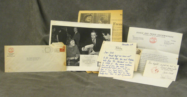 ALS: 2 original letters from Julia and Paul Child to Richard Gildenmeister, with an original photograph and several newspaper clippings. Julia Child, Paul Child.