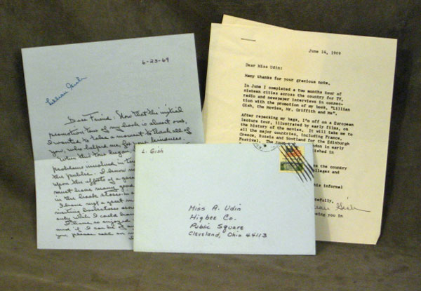 pair of 2 letters from lillian gish to anne udin 1969