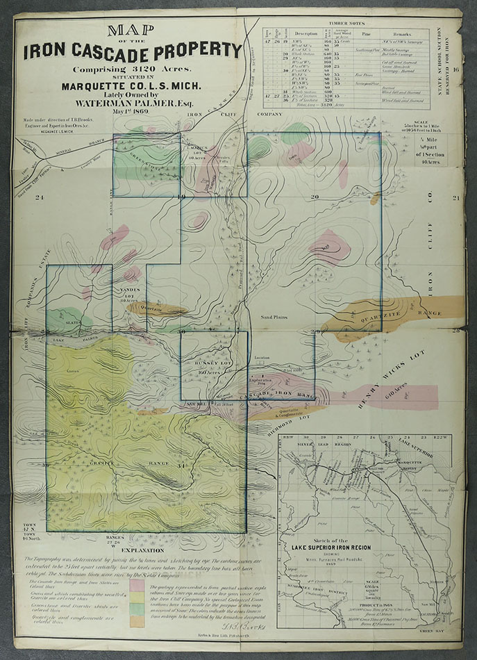 Map of the Iron Cascade Property Comprising 3120 Acres, Situated in Marquette Co. L. S. Mich. Lately Owned by Waterman Palmer, Esq., May 1st 1869. n/a.