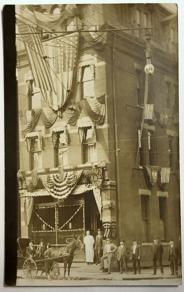 Bellevue, PA (suburb of Pittsburgh): Real Photo Postcard / RPPC ca. 1910 of building decked out with bunting and possibly July 4th flags