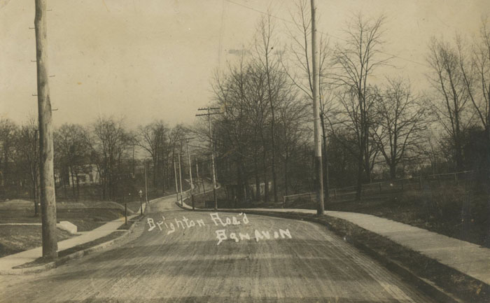 Ben Avon, PA (suburb of Pittsburgh): Real Photo Postcard / RPPC ca. 1910 of Brighton Road looking up the hill