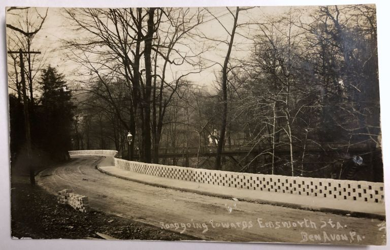 Ben Avon, PA (suburb of Pittsburgh): Real Photo Postcard / RPPC ca. 1910 of windy street with fence