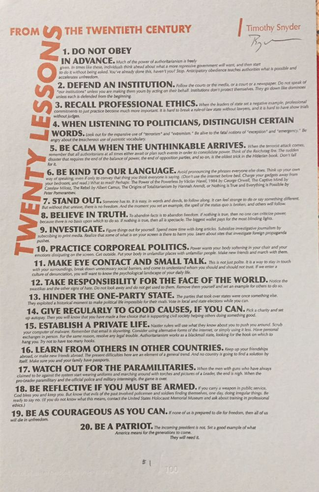 Twenty Lessons from the Twentieth Century - 11 x 17 hand-printed broadside