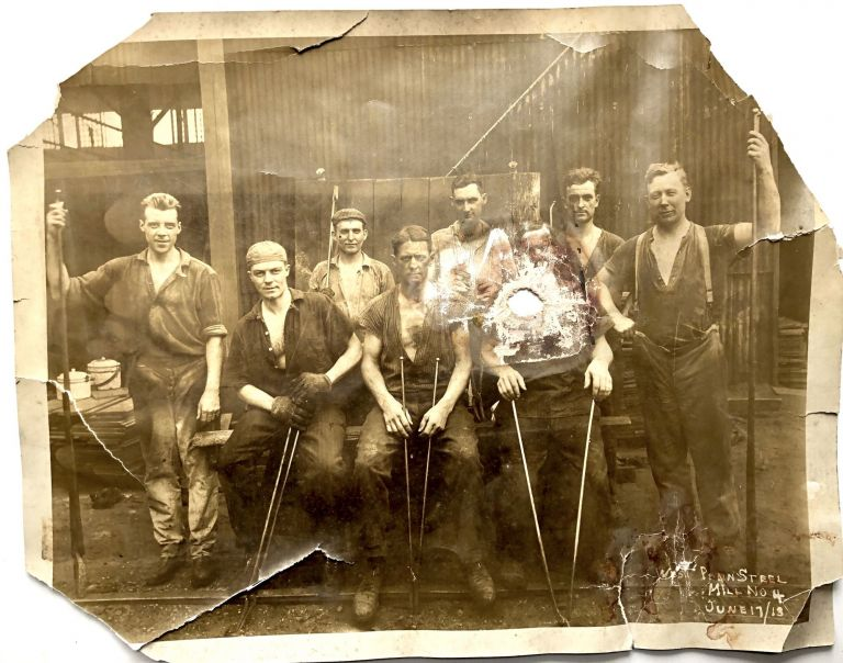 13 x 10 photo of workers at West Penn Steel Mill no. 4, JUne 17, 1913 -- with bullet hole? Occupational Photography.