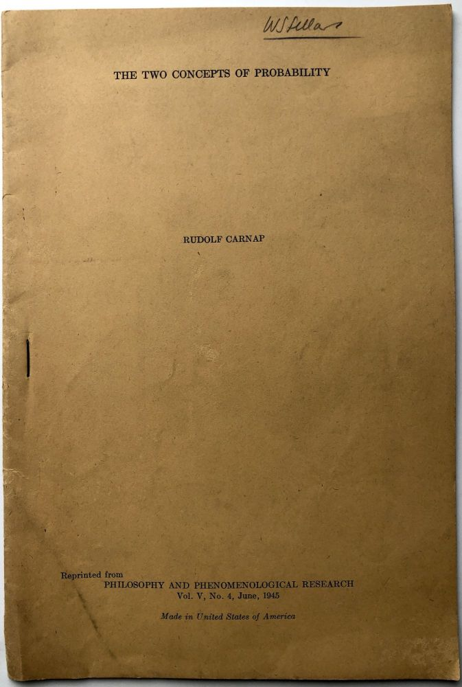 The Two Concepts of Probability (1945 offprint) -- Wilfrid Sellars' copy. Rudolf Carnap.