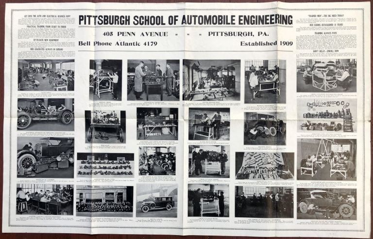 Huge 44 x 28 1925 poster advertising Pittsburgh School of Automobile Engineering