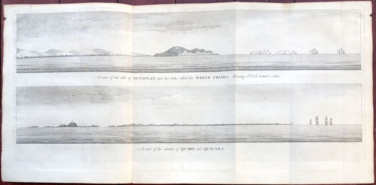 A view of the hill of Petaplan and the rocks called the White Friars bearing SE. b E. distant 5 miles; A view of the islands of Quibo and Quicara. George Anson.