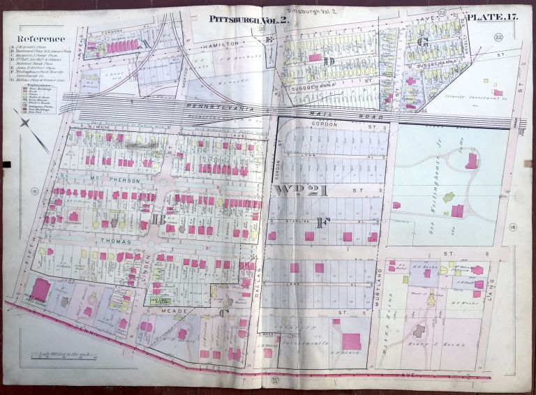 Ca. 1910s large linen-backed colored plat map of Pittsburgh: Penn Ave. Point Breeze, Homewood