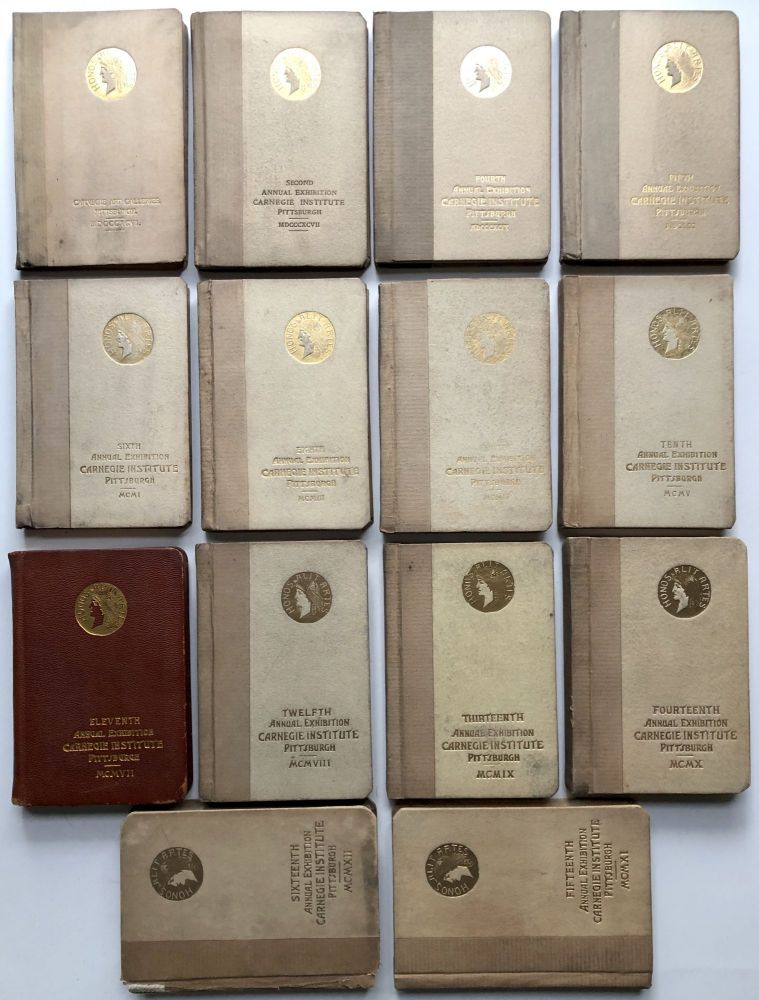 14 of the earliest Carnegie International catalogs (Annual Exhibitions of the Carnegie Institute): 1896, 1897, 1899, 1900, 1901, 1903, 1904, 1905, 1907, 1908, 1909, 1910, 1911, 1912. Carnegie Art Galleries.