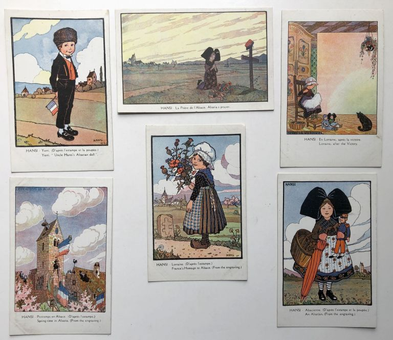 6 postcards, ca. 1916 with artwork by HANSI on Alsatian themes. Hansi, Jean-Jacques Waltz.