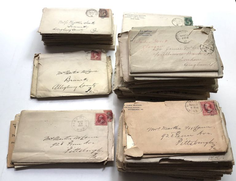 Extraordinary archive of 150 letters between the founder of the Western Pennsylvania Medical School (University of Pittsburgh) and his wife, plus letters from Thomas Spencer Wells, William Stewart Halsted, John Milton Duff, James B. Murdoch and others. James McCann.
