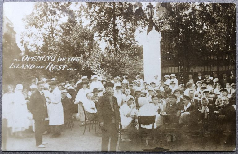 1920 Real Photo Postcard: Opening of the Island of Rest (St. Petersburg, Russia)