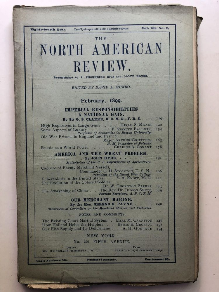 The North American Review, February 1899. Sereno Payne Charles Conant, John Hyde.