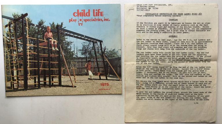1975 Catalog No. 17 of playground sets, swings, jungle gyms, bouncers, trampolines, etc. Inc Child Life Play Specialties.