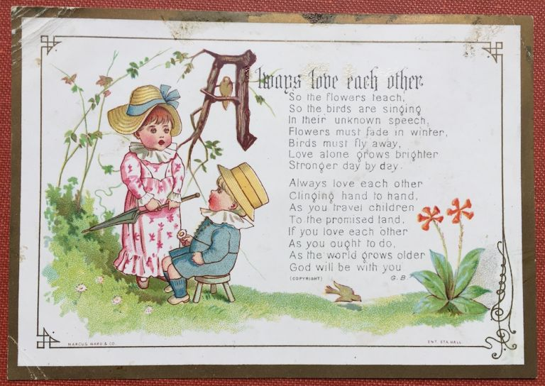 feed my lambs series christmas card showing boy sitting and girl standing with closed umbrella c 1877 kate greenaway - Christmas Card Closings