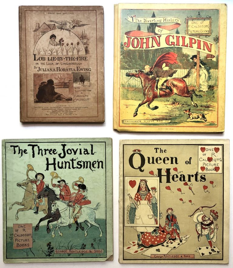 Group of 8 books illustrated by Caldecott: The Diverting History of John Gilpin, The Queen of Hearts, The Three Jovial Huntsmen, Mrs. Mary Blaize: An Elegy on the Glory of her Sex, The Babes in the Wood, Lob Lie-By-The-Fire or Luck of Lingborough (by Ewing), Daddy Darwin's Dovecot (Ewing), Come Lasses and Lads. Randolph Caldecott, ill.