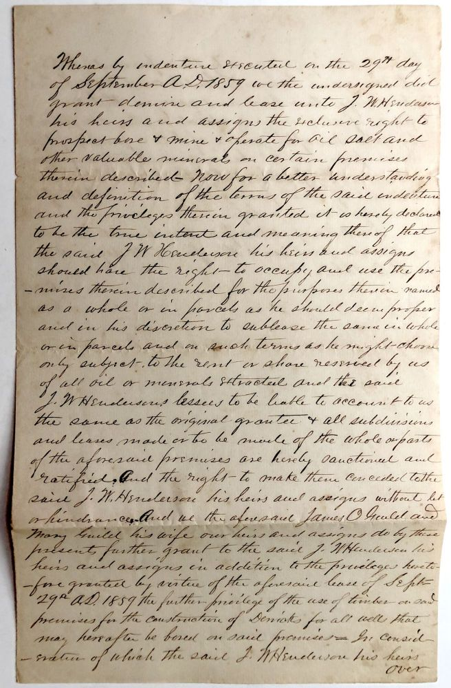 Rare 1859-60 Pennsylvania oil country indenture for land near Drake's Well. PA - Venango County.