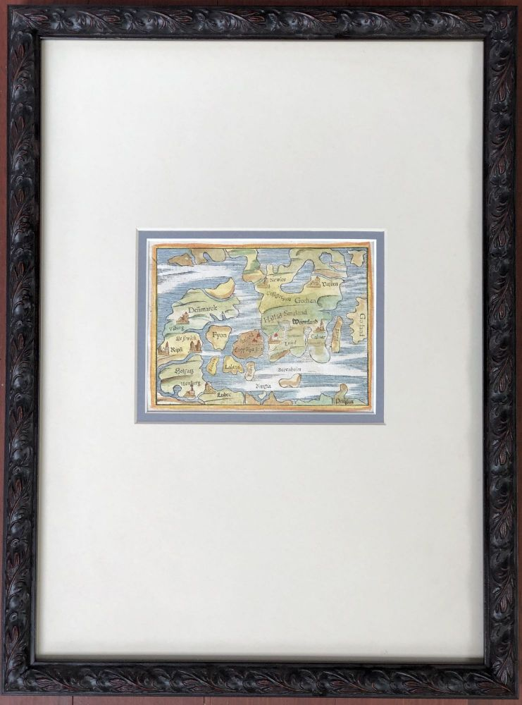 "Ca. 1550 ""De la Situation de Danemarch"" framed colored map of Denmark from the Cosmographia. Denmark, Sweden."