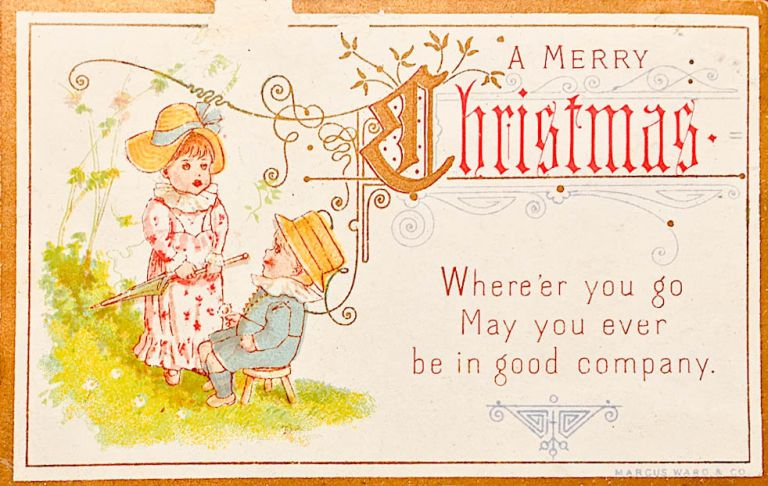 merry christmas card young girl standing in pink and white dress holding closed umbrella and a young boy seated in a blue suit kate greenaway - Christmas Card Closings