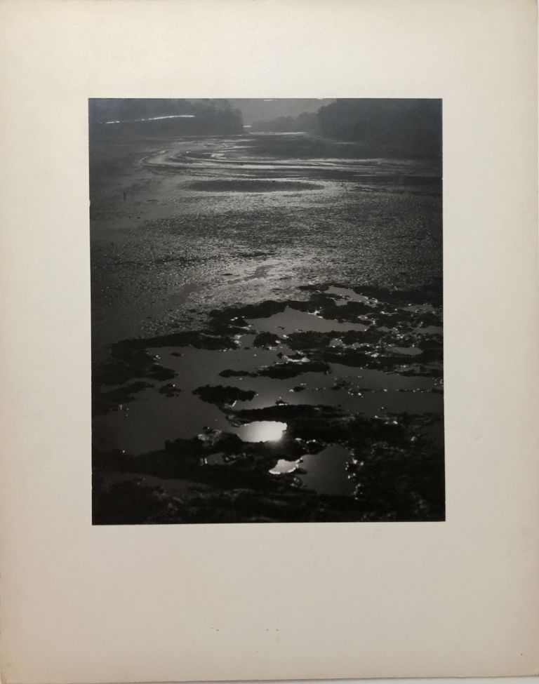 "Original 13.25 x 10.5"" 1957 silver gelatin photograph, ""Gone Dry"" - drained lake from someone accidentally leaving the dam open. John L. Alexandrowicz."