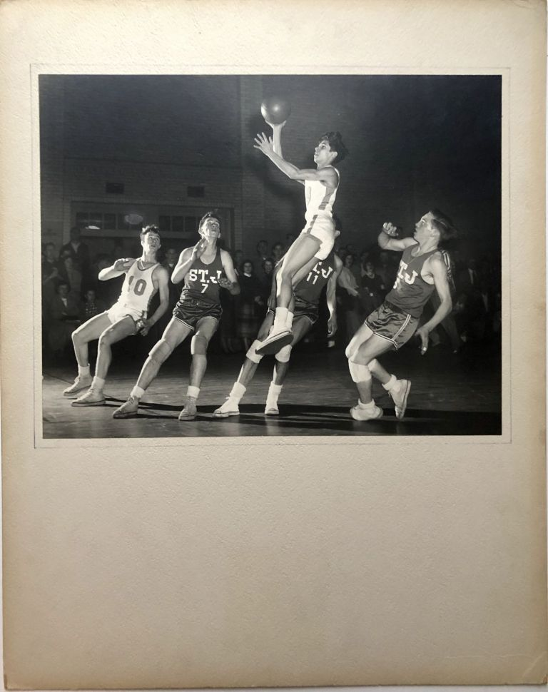 "Original 13.25 x 10.5"" 1956 silver gelatin photograph, ""Suspended Animation"" -- Pittsburgh highschool basketball game. John L. Alexandrowicz."