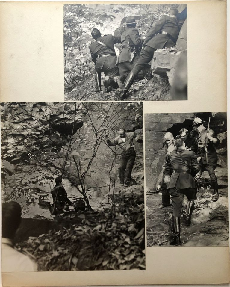 """""""Killer Surrenders"""" -- 3 original photos from 1956 mounted to 16 x 20"""" sheet showing the surrender of killer Charles Lutsovich. John L. Alexandrowicz."""