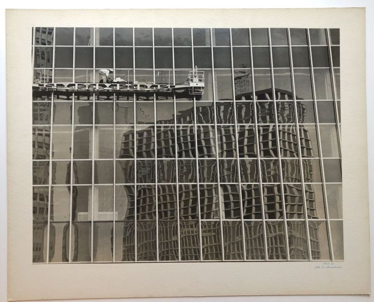 "Original 17.25 x 13"" gelatin silver photo, ""A Window Washer's Nightmare"" 1960, downtown Pittsburgh. John L. Alexandrowicz."