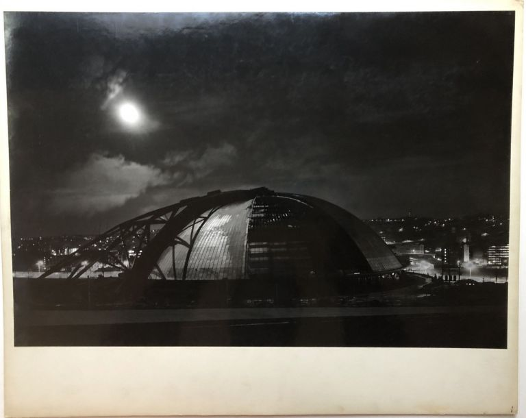 "Original 19 x 13"" gelatin silver photo, ""Moonlight"" -- construction of the Civic Arena in Pittsburgh, 1961. John L. Alexandrowicz."