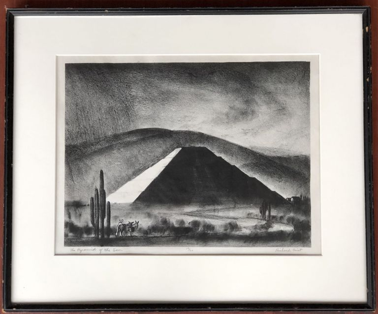 Ca. 1936 lithograph of The Pyramid of the Sun, Mexico, signed, numbered, framed. Richard Crist.