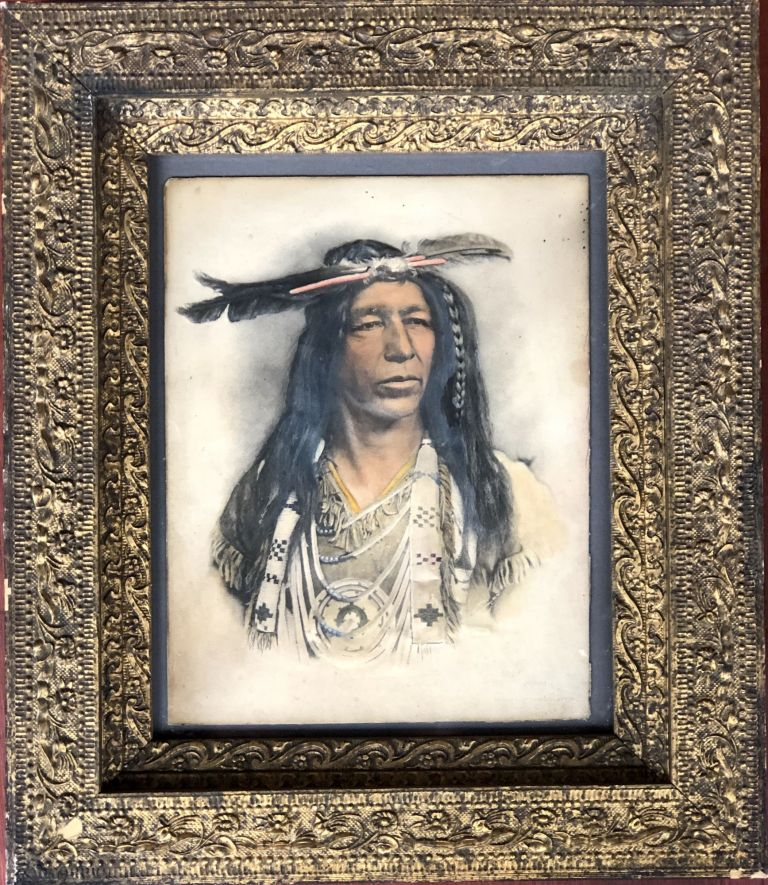 1904 colored embossed platinum print of Native American chief, framed. Alfred S. Campbell Company.