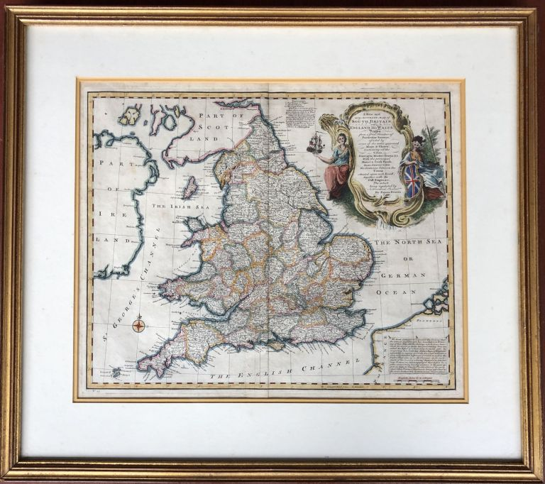 A New and very Accurate Map of South Britain, or England and Wales, 1747 framed map with original color. Emanuel Bowen.