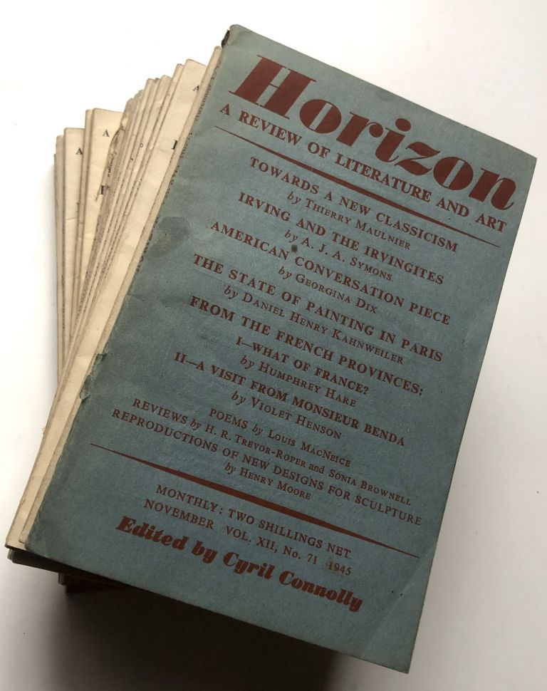 Horizon, a Review of Literature and Art, No. 71 (November 1945) - 91 (August 1947) - 21 consecutive issues. Cyril Connolly, Paul Bowles, Bertrand Russell, Aldous Huxley, ed. W. H. Auden.