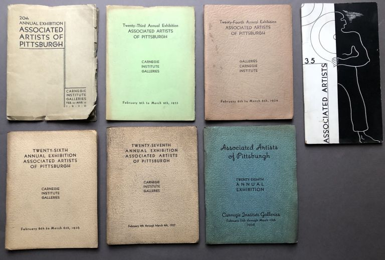Group of 25 Associated Artists of Pittsburgh annual exhibition catalogs, 1930-1958 including 1948 catalog with entry by Andy Warhol. Years are: 1930, 1933, 1934, 1935, 1936, 1937, 1938, 1939, 1940, 1941, 1942, 1944, 1945, 1946, 1947, 1948, 1949, 1951, 1952, 1953, 1954, 1955, 1956, 1957, and 1958. Andy Warhol.