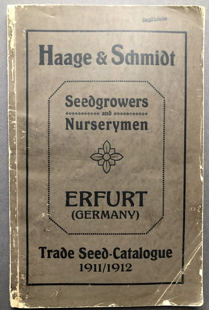 Trade Seed Catalogue 1911 - 1912. Haage, Schmidt.